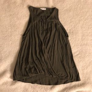 Lush Olive Green Tank W/Front Lace Up